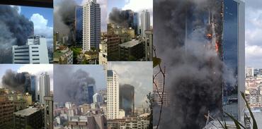 Polat Tower'da yangın paniği