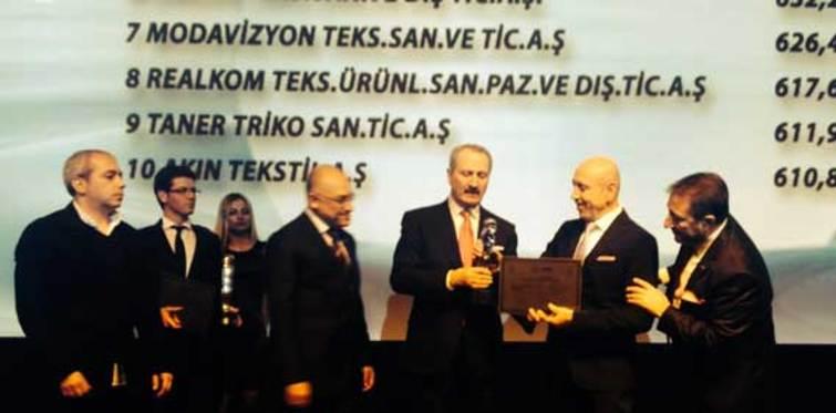 Bakan Çağlayan'dan Şahinler Holding'e anlamlı ödül