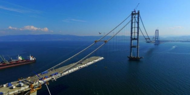 İzmit Körfez Geçiş Köprüsü havadan görüntülendi