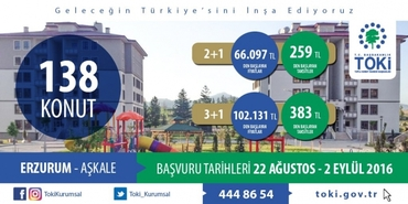 TOKİ Erzurum Aşkale konutları