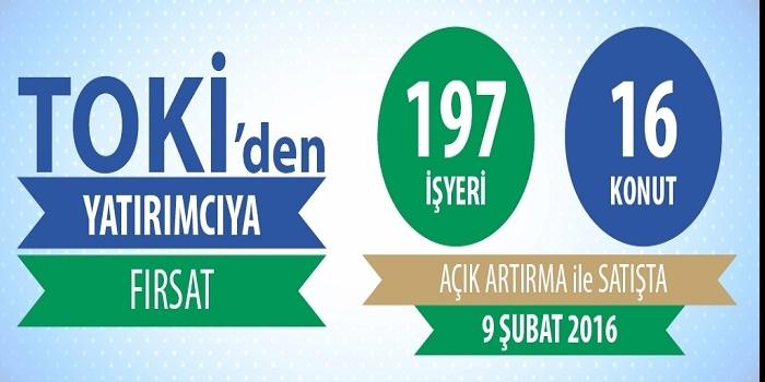 TOKİ'den satılık 197 iş yeri ve 16 konut!