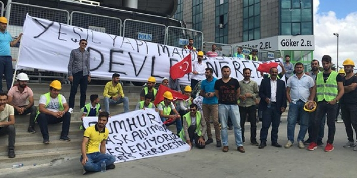 Konkordato ilanı sonrasında Yeşil Yapı işçileri eylemde